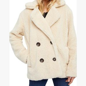 Free People Notched Teddy Peacoat.  Super soft